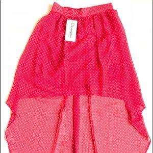 Olsenboye polka dot hi low skirt